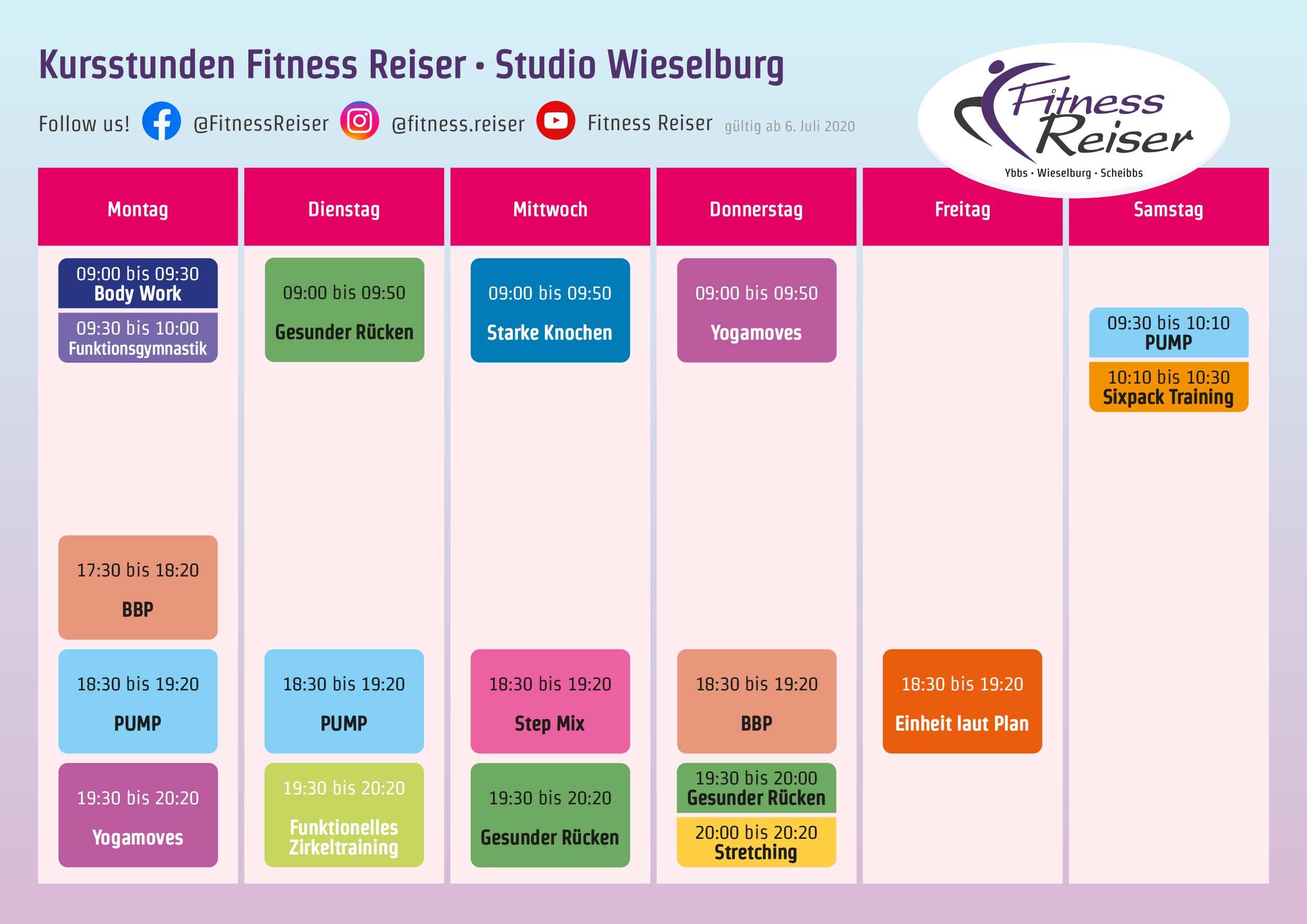 Kursplan Sommer 2020 - Fitness Reiser